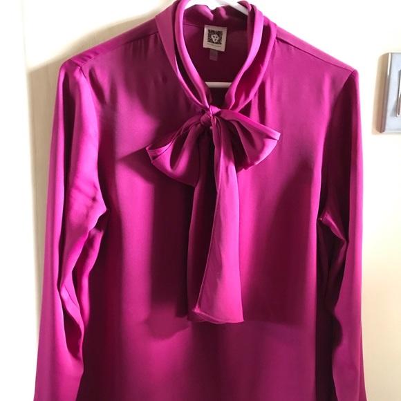 900b8f20f338d Anne Klein Tops - Magenta Fuschia Pussy Bow Silk Blouse